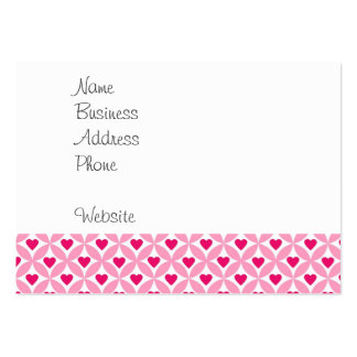Pink and Red Valentine's Day Hearts Pattern Business Card Templates