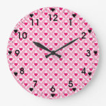Pink and Red Valentine's Day Hearts Pattern Wall Clock