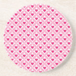 Pink and Red Valentine's Day Hearts Pattern Coaster