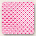 Pink and Red Valentine's Day Hearts Pattern Drink Coasters