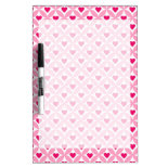 Pink and Red Valentine's Day Hearts Pattern Dry Erase White Board