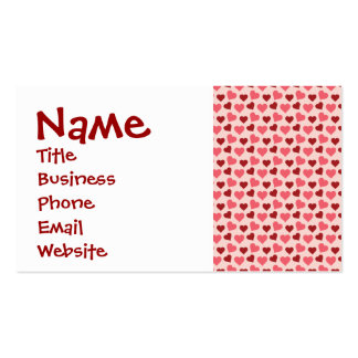 Pink and Red Valentine's Day Hearts Pattern Gifts Business Card Templates