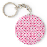 Pink and Red Valentine's Day Hearts Pattern Keychain
