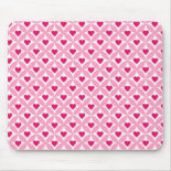 Pink and Red Valentine's Day Hearts Pattern Mouse Pads