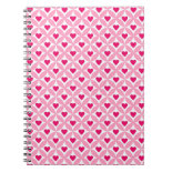 Pink and Red Valentine's Day Hearts Pattern Note Books