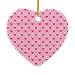 Pink and Red Valentine's Day Hearts Pattern Christmas Tree Ornament