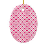Pink and Red Valentine's Day Hearts Pattern Ornaments