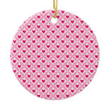 Pink and Red Valentine's Day Hearts Pattern Ornament