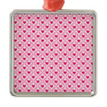Pink and Red Valentine's Day Hearts Pattern Christmas Ornaments