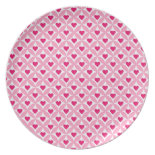 Pink and Red Valentine's Day Hearts Pattern Party Plate
