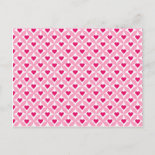 Pink and Red Valentine's Day Hearts Pattern Postcards