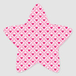 Pink and Red Valentine's Day Hearts Pattern Star Stickers