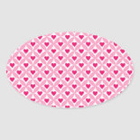 Pink and Red Valentine's Day Hearts Pattern Oval Stickers