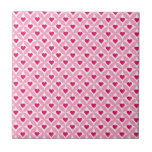 Pink and Red Valentine's Day Hearts Pattern Ceramic Tiles