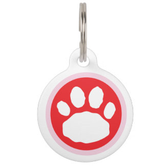 Pink and Red Valentine's Day Paw Print Pet Tag