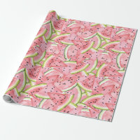 Pink and Red Watermelon Pattern Wrapping Paper