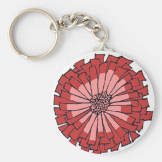 Pink and Red Zinnia Keychain