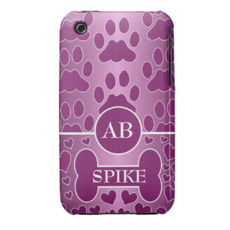 pink and rose dog bone dog paws monogram iPhone 3 covers