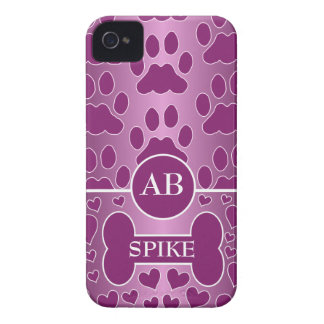 pink and rose dog bone dog paws monogram iPhone 4 covers