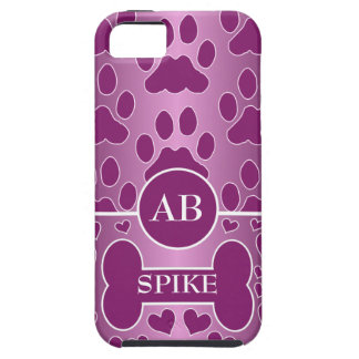 pink and rose dog bone dog paws monogram iPhone 5 cover