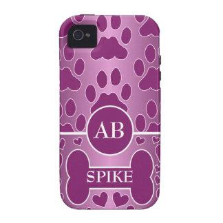 pink and rose dog bone dog paws monogram vibe iPhone 4 case