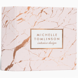 Pink and Rose Gold Marble Designer Personalized Binder