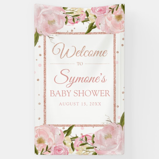 Pink and Rose Gold Peony Custom Baby Shower Banner