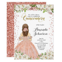 Pink and Rose Gold Quinceañera Invitation