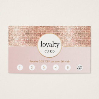 Pink and Rose Gold Sequin Salon 6 Punch Loyalty Business Card