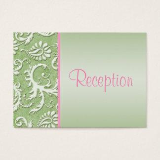 Pink and Sage Green Damask Enclosure Card