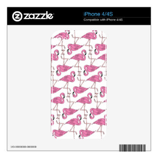 Pink and Salmon Flamingo Pattern Skin For The iPhone 4S