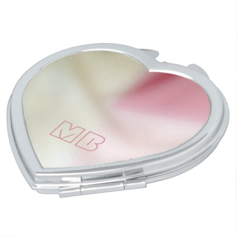 Pink and satin fabric effect with your initials compact mirror
