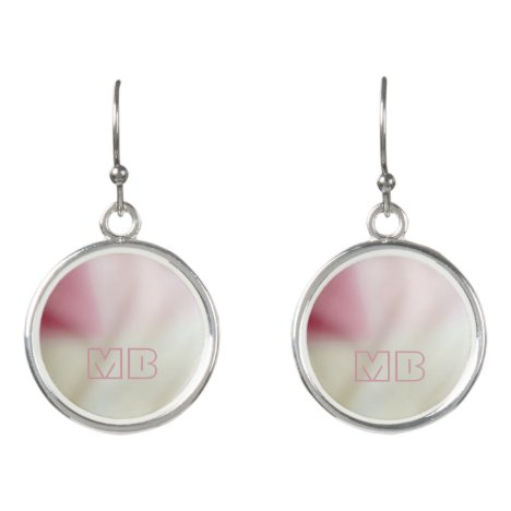 Pink and satin fabric effect with your initials earrings