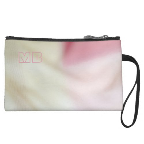 Pink and satin fabric effect with your initials suede wristlet