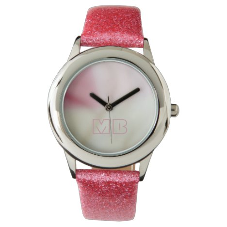 Pink and satin fabric effect with your initials wristwatch