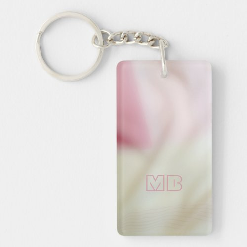 Pink and satin fabric-look with your initials keychain