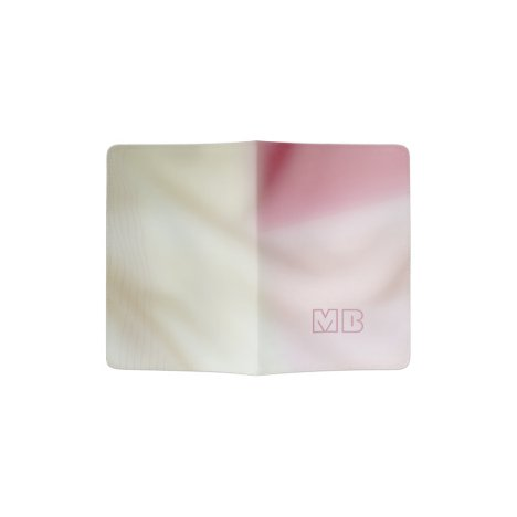 Pink and satin fabric-look with your initials passport holder