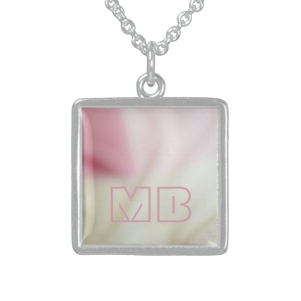 Pink and satin fabric-look with your initials sterling silver necklace