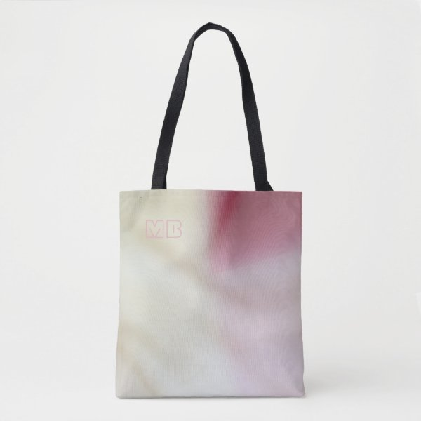 Pink and satin fabric-look with your initials tote bag