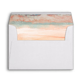 Pink and Sea Blue Beach Wedding Watercolor Envelope
