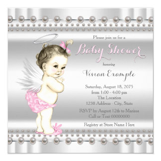Pink and Silver Angel Baby Shower Card