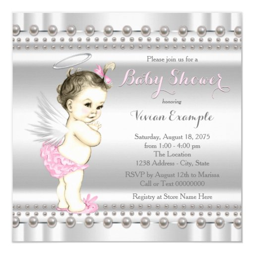 pink and silver angel baby shower invitation zazzle