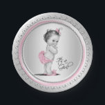 "Pink and Silver Baby Shower Paper Plates<br><div class=""desc"">Pink and silver baby shower plates with adorable vintage baby girl wearing pink ruffle pants,  slippers and bow on a pink and silver lace edge background. These cute pink and gray baby shower paper plates can be customized with text in the font style and color of your choice.</div>"