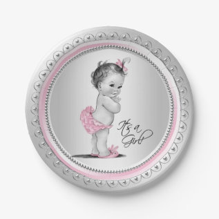 Pink And Silver Baby Shower Paper Plates at Zazzle