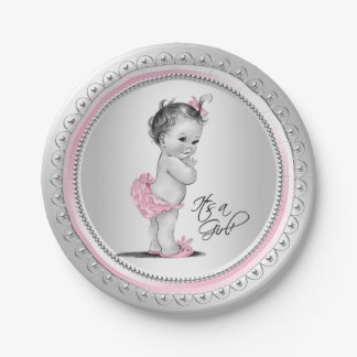 Pink and Silver Baby Shower Paper Plates