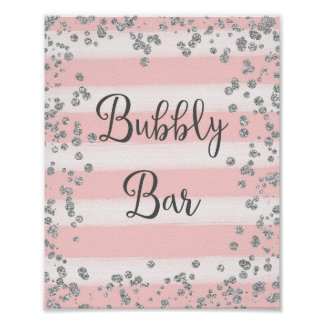 Pink and Silver Bubbly Bar Poster Print