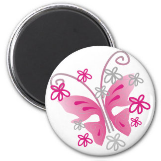 pink and silver butterfly fridge magnet