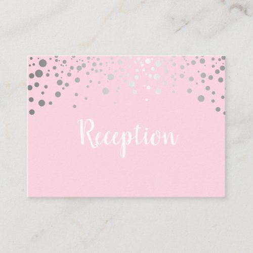 Pink and Silver Confetti Dots _ Reception Enclosure Card