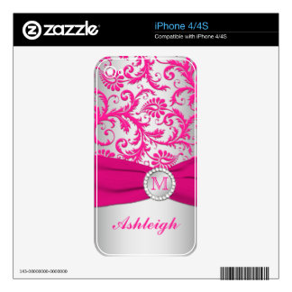 Pink and Silver Damask iPhone 4/4s Skin