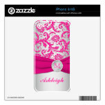 Pink and Silver Damask iPhone 4/4s Skin iPhone 4 Skin